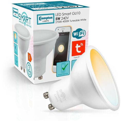 (1 Pack) Crompton Lamps LED Smart Wifi GU10 Spotlight 5W Dimmable (50W Equivalent) 2700-4000K Tuneable White 100° Opal Amazon Alexa TUYA Thermal Plastic Google Home Light Bulb