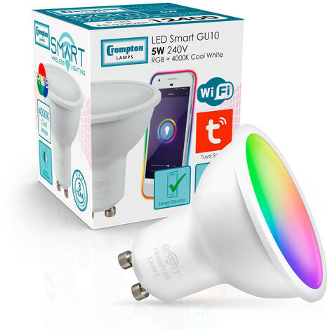 (1 Pack) Crompton Lamps LED Smart Wifi GU10 Spotlight 5W Dimmable (50W Equivalent) RGB and 4000K Cool White 100° Opal Amazon Alexa TUYA Colour Changing Thermal Plastic Google Home Light Bulb