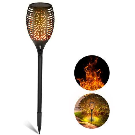 1 Pack Solar antorcha de la llama de la lampara 12LED luz solar al aire libre con el parpadeo de la llama del paisaje IP65 a prueba de agua luces decorativas, 12LED, 1 Pack
