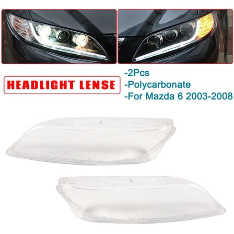 1 Pair 60cm x 6cm Car Headlight Plastic Headlight Lamp Shell Replacement Cover Clear Lens Cover For Mazda 6 2003-2008