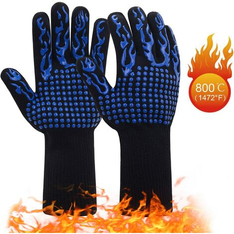1 Pair Heat Resistant Barbecue Gloves | Non-slip Silicone Oven Gloves Up to 800 ° C | Universal Gloves for BBQ, Grill, Oven, Kitchen and Fireplace