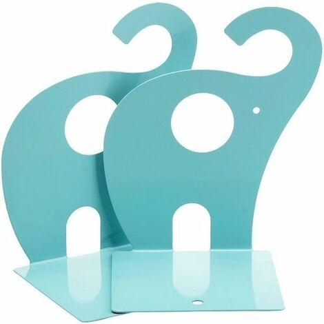 """main image of """"1 paire de serre-livres d'éléphant de bande dessinée, serre-livres décoratifs mignons pour l'école de bureau (bleu)"""""""
