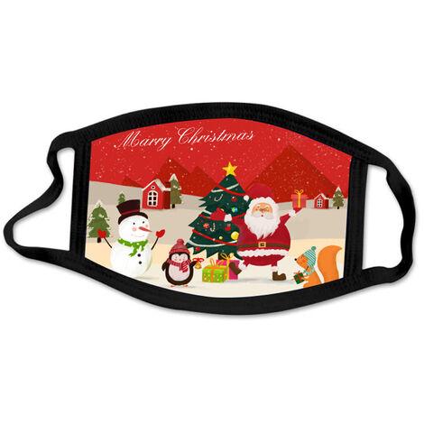1 Paquet Anti-Poussiere Masque Bouche Joyeux Noel Mode De Protection Masques Visage Poussiere Bouche Revetements, Lavable Reutilisables, Style 1