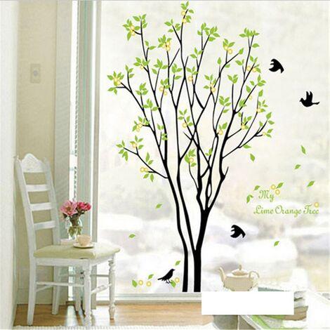 1 Pc bricolage vert arbre oiseau citation amovible mur autocollant vinyle Art Sticker Mural Stickers muraux papier peint décor à la maison Oiseau arbre vert