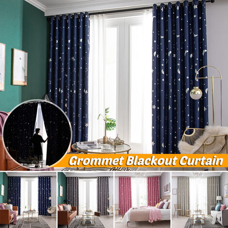 1 pc étoile lune oeillet oeillet haut occultant fenêtre rideau drapé balcon chambre bleu marine poin?on 100 * 130 CM bleu marin 1 pièces 100X130CM