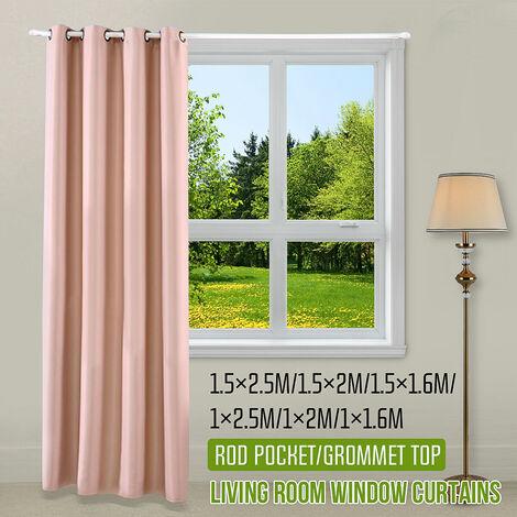 1 PC rideau de fenêtre occultant rideau d'ombrage de chambre à coucher solide (abricot, dessus à œillets 150x160cm)