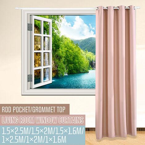 1 PC rideau de fenêtre occultant rideau d'ombrage de chambre à coucher solide (abricot, dessus à œillets 150x200cm)
