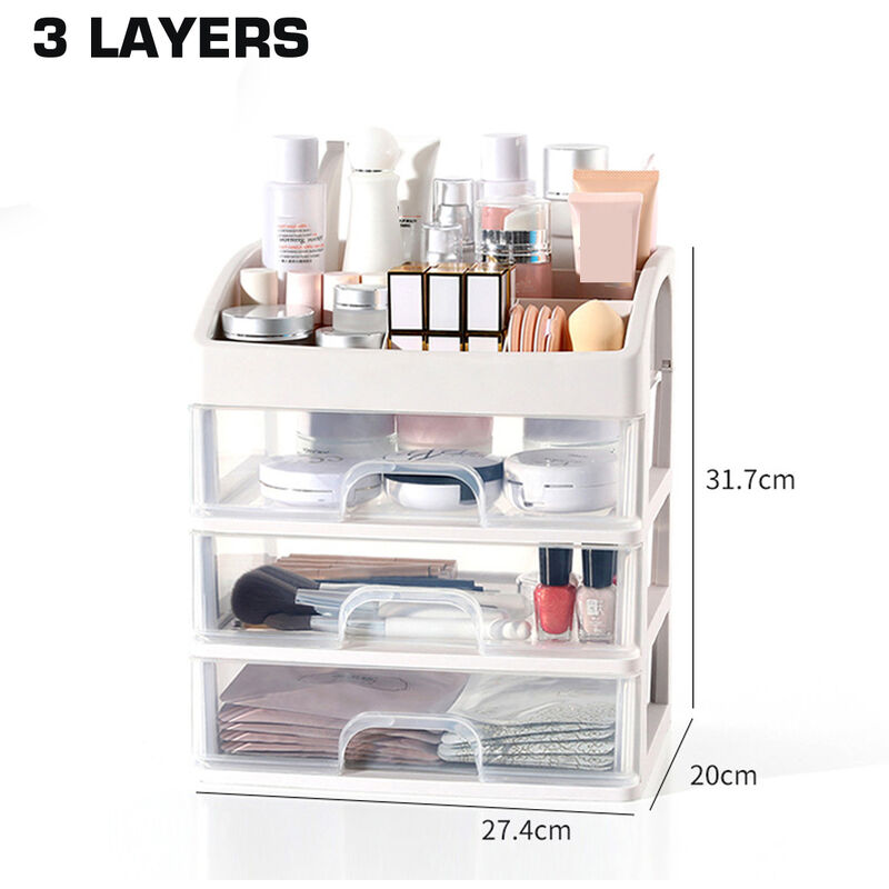 1 pcs Cosmetic Receiving Box Transparent Makeup Organizer Storage Acrylic Organizer 3 layers