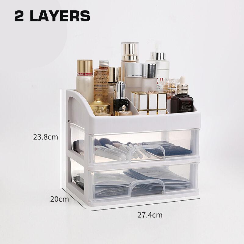 1 pcs Cosmetic Receiving Box Transparent Makeup Organizer Storage Acrylic Organizer 2 layers