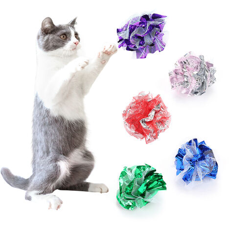"""main image of """"1 PCS Crinkle Ball Cat Toy Interactive Crinkle Balls for Small Cats Gauze Glitter Kitten Ball with Funny Crinkly Sounds (Random Color),model:Random Color"""""""