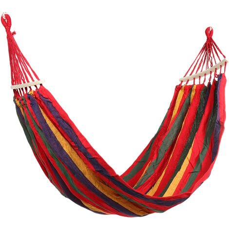 1 Person Portable Hammock Swing Canvas Stripe Hang Bed Hammock with Stick