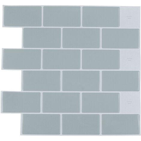 """main image of """"1 pieza 3D pegatinas de azulejos de ladrillo adhesivo autoadhesivo para pared de baño y cocina (gris, 30,5 cm / 12 pulgadas)"""""""