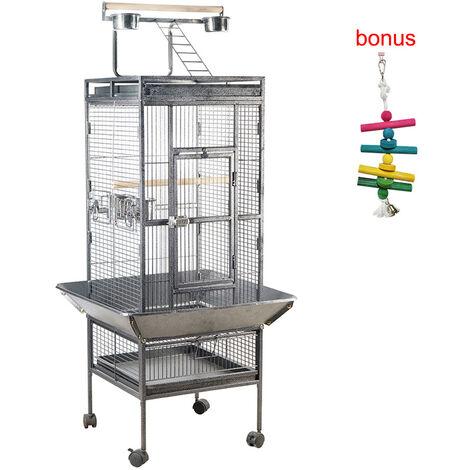 """1 pieza de 59,8 """"jaula grande de metal para pajaros para mascotas, interior y exterior, diversion, loros multifuncion, guacamayo, cacatua, suministros para nidos de pajaros, negro"""