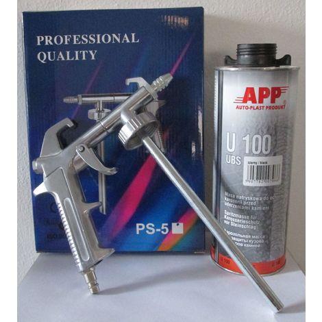 1 pistolet pulverisation + 2 cartouches anti gravillon noir peinture automobile