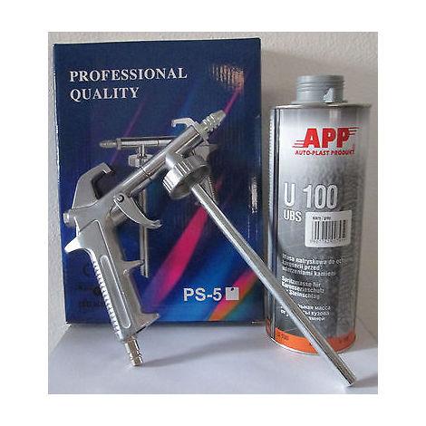 1 pistolet pulverisation + 3 cartouches anti gravillon noir peinture automobile