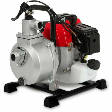 """1"""" Pompe à eau thermique (12.500 l/h, 2 CV Moteur à essence, Connection 1 Pouces, 17,5m Hauteur de refoulement, 7m Hauteur daspiration) Motopompe"""