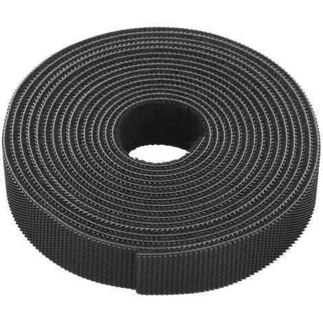 1-Roll reutilizable fijacion organizador del alambre multiuso de uniones de cable Cable de la cuerda del gancho de gestion de cables y el lazo de nylon correas de sujecion de cinta por cable, 3m