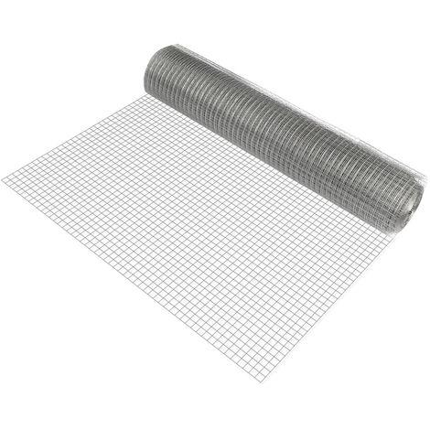 1 rollo de malla de alambre (cuadrados)(1m x 25m)(galvanizado) valla de tela metálica gris