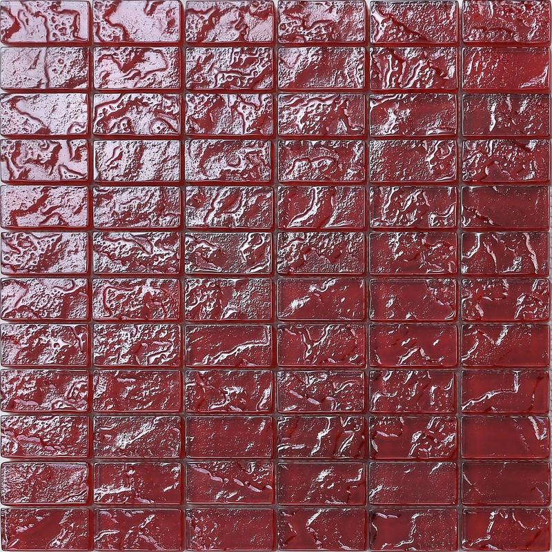 Image of 1 SQ M Textured Lava Red Brick Bathroom Kitchen Feature Mosaic Tiles MT0123