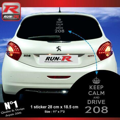 1 sticker keep calm compatible avec PEUGEOT 208 - Argent