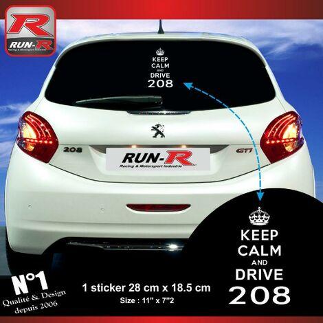 1 sticker keep calm compatible avec PEUGEOT 208 - BLANC