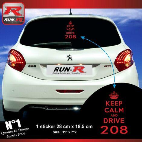 1 sticker keep calm compatible avec PEUGEOT 208 - ROUGE
