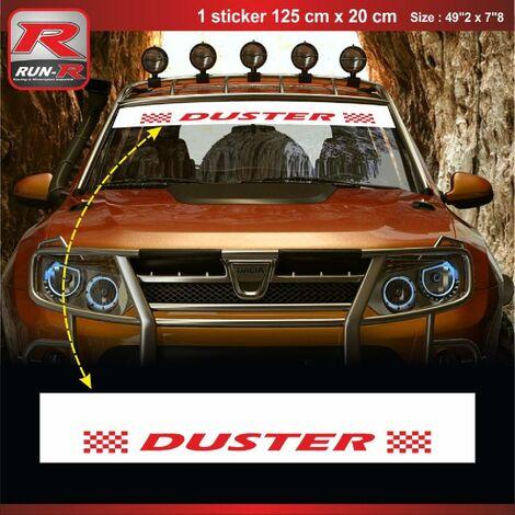 1 sticker pare-soleil 00CUBR compatible avec DACIA Duster - Blanc et Rouge