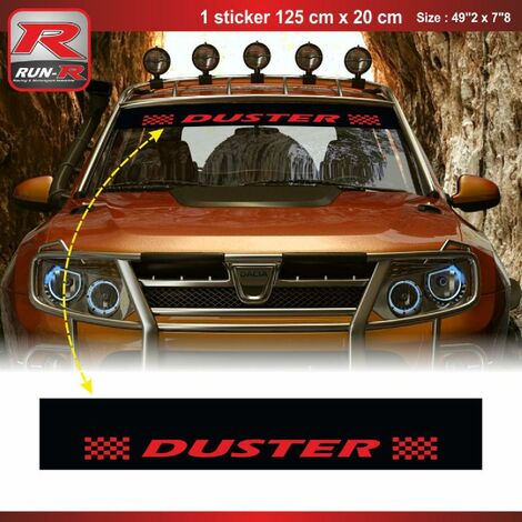 1 sticker pare-soleil 00CUNR compatible avec DACIA Duster - Noir et Rouge