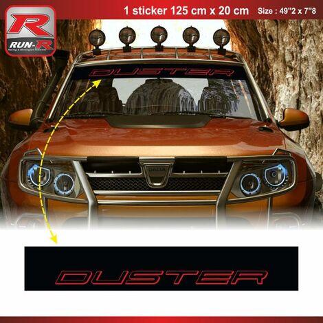 1 sticker pare-soleil 00CVNR compatible avec DACIA Duster - Noir et Rouge