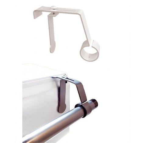 1 Support de Tringle à rideaux ø 16 à 20mm sans perçage pour coffret volet roulant Coloris - Blanc - Blanc
