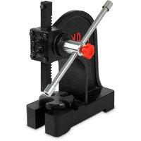1 T Prensa manual de mandril (1000 kg Fuerza de presión, hasta 145 mm de tamaño de pieza de trabajo, Palanca de mano, 4 Posiciones de la placa base)