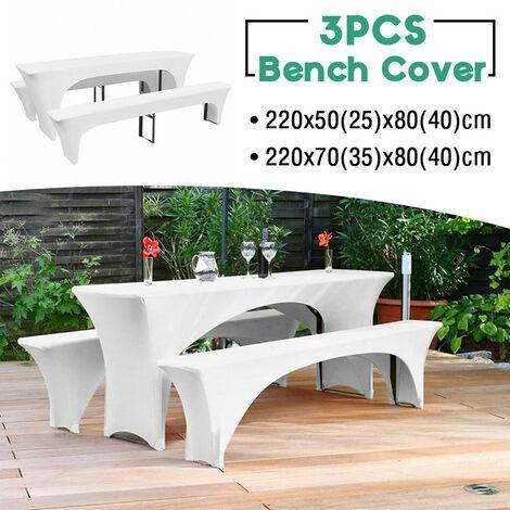 (1 table cover + 2 bench covers) Outdoor garden patio extendable table cover chair bench cover (220x70x80cm)