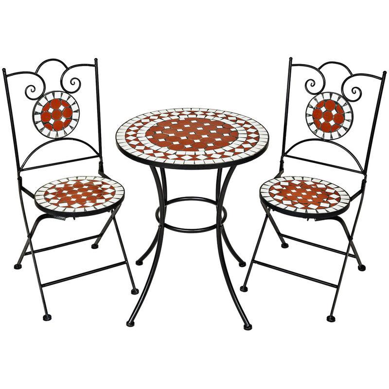 1 Table de Jardin et 2 Chaises Pliables Mosaïque en Céramique Blanc Marron  Noir