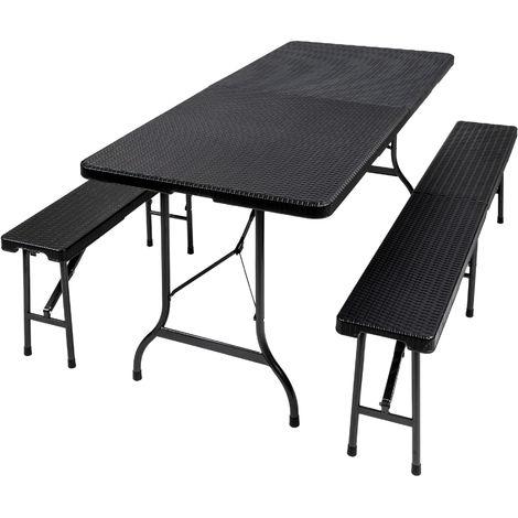 """main image of """"1 Table et 2 Bancs de Jardin Pliants 179 cm x 74 cm x 72 cm Noir"""""""