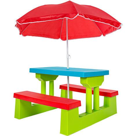1 Table et 2 Bancs Enfant de Jardin 67 cm x 79 cm x 130 cm + Parasol
