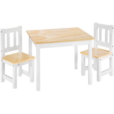1 Table et 2 Chaises Enfant en Bois 60 cm x 50 cm x 48 cm Blanc Marron