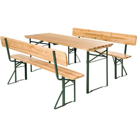 1 Table pliante et 2 Bancs Camping et Réception avec Dossier en Bois et Acier 176 cm x 69 cm x 76 cm