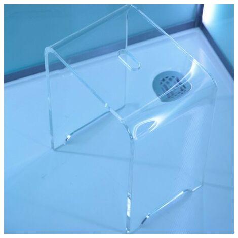 1 Tabouret de douche transparent en acrylique pur