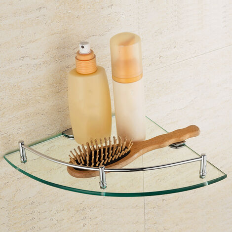 1 Tier Glass Shower Caddy Bathroom Corner Storage Shampoo Holder Floating Shelf Rack 25x25cm