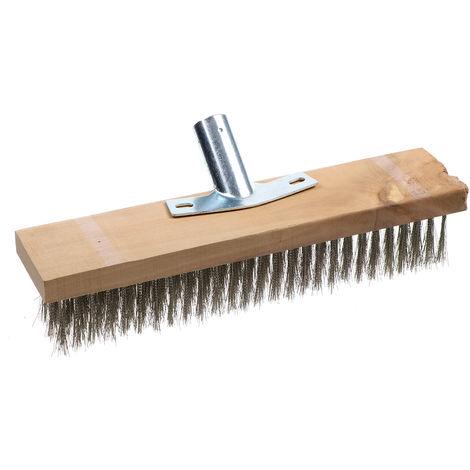 1 Uds 30 CM de acero inoxidable cepillo de barrido de escoba de jardín