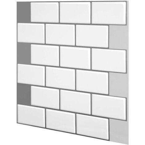 """main image of """"1 unidad de pegatinas de azulejos de ladrillo 3D para baño, cocina, adhesivo para pared (blanco, 30,5 cm / 12 pulgadas)"""""""