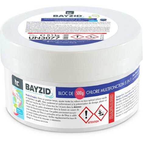 1 x 0,5 kg Bayzid® Chlore multifonction, bloc de 500g