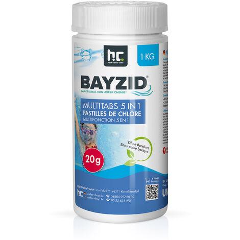 1 x 1 kg 1 Kg Bayzid® pastilles de chlore multifonction 20g 5 en 1