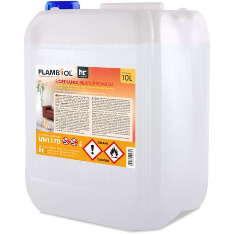1 x 10 Litre Bioéthanol à 96,6 % dénaturé en bidon de 10 litres
