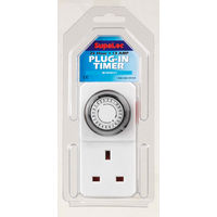 1 X 24 Hour 24hr Mains Plug In Timer Switch Time Clock Socket Uk 3 Pin Lights