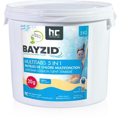 1 x 5 kg 5 Kg Bayzid® Pastilles de chlore multifonction (20g)