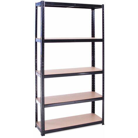 1 x Black Metal 5 Tier Garage Shelves Shelving Unit Racking Storage 180x90x30cm