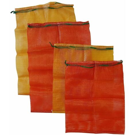 1 x Large strong log mesh bags kindling sack vegetable net poly mesh woven orange
