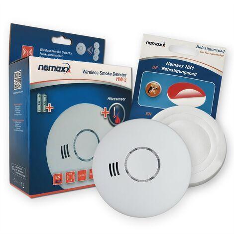 1 x Nemaxx HW-2 detectores de humos sin hilos detectores de humo detectores de calor con sensor combinado de humos y térmico según la DIN EN 14604 + NX1 Pad de fijación