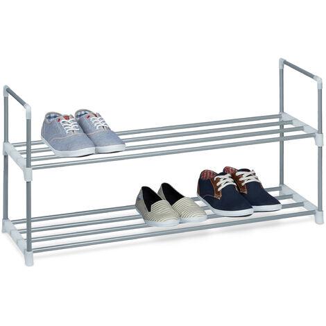 1 x Schuhregal Metall, 2 Ablagen, beliebig erweiterbar, Schuhablage für 8 Paar Schuhe, HBT: ca 45 x 90 x 30 cm, silber